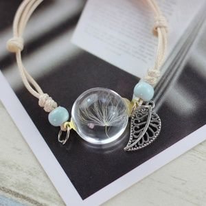 Jewelry - Dandelion Encased Crystal Leaf Bracelet B13